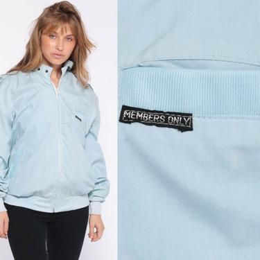 Members Only Jacket Baby Blue Jacket 80s Bomber Pastel Windbreaker Cafe Racer Moto Epaulette Coat Vintage 1980s Lightweight Medium Large by ShopExile