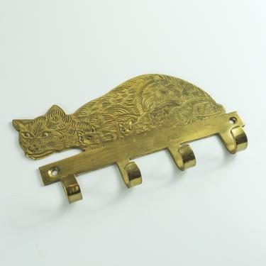 Vintage Brass Cat Kitten Key Holder / Brass Cat Key Hook by blackwellhabitat
