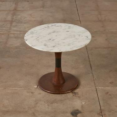 Marble and Oak Round Pedestal Side Table