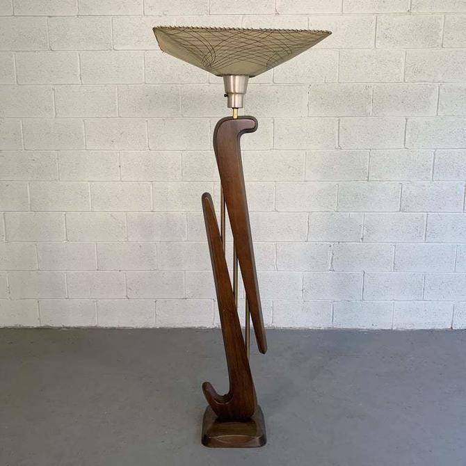 Mid Century Modern Biomorphic Mahogany Torchiere Floor Lamp