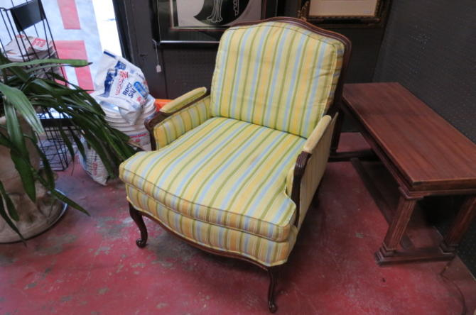 Vintage Antique French style walnut lounge chair