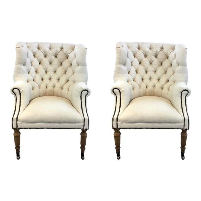 Regina Andrew Transitional Tufted Ivory Clarissa Lounge Chairs Pair