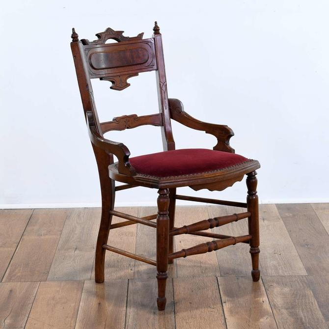 Victorian Eastlake Style Carved Accent Chair W Red Seat