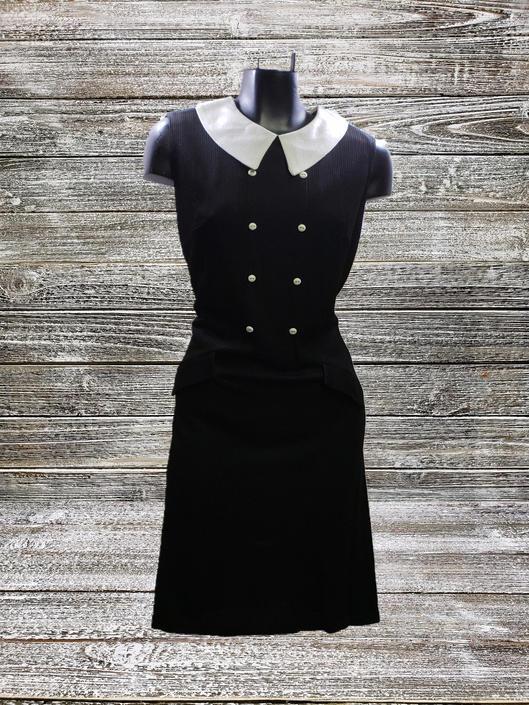 Vintage Little Black Dress, Collared Black Dress, Vintage Womens Apparel, White Peter Pan Collar, Sleeveless Mod Dress, Vintage Clothing by AGoGoVintage