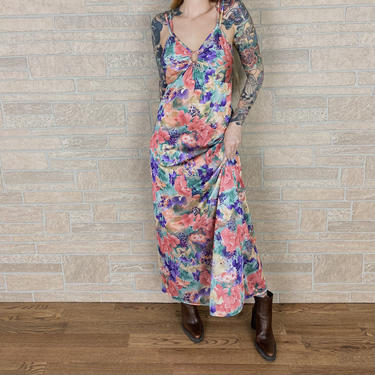 70's Keyhole Floral Watercolor Maxi Slip Dress Lingerie by NoteworthyGarments
