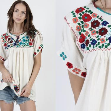 Vintage Ivory Mexican Blouse / Floral Hand Embroidered A Line Top / Heavily Embroidered Cotton Tunic / Womens Cream Fiesta Shirt by americanarchive