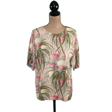 Tropical Print Floral Rayon Blouse, Short Sleeve Top, Boxy Shirt Women Medium, Spring Summer Clothes, 90s Y2K Vintage from Karen Kane by MagpieandOtis