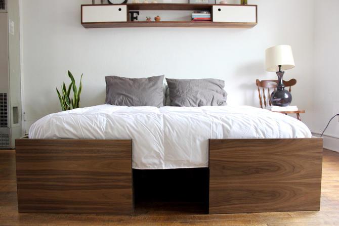 Modern Walnut Bed, Queen by ImagoFurniture