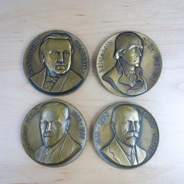 Pioneers in psychiatry bronze commemorative medallion collectible medal coin paperweight Freud, Meyer, Charcot, Rush student gift Abbott Lab by forestfathers