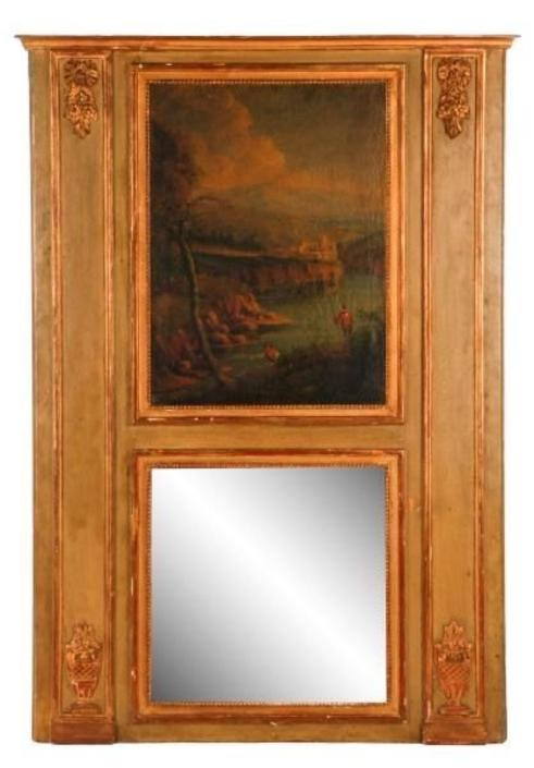 Antique Louis XVI Trumeau Mirror | Parcel Gilt | Oil on Canvas | Neoclassical