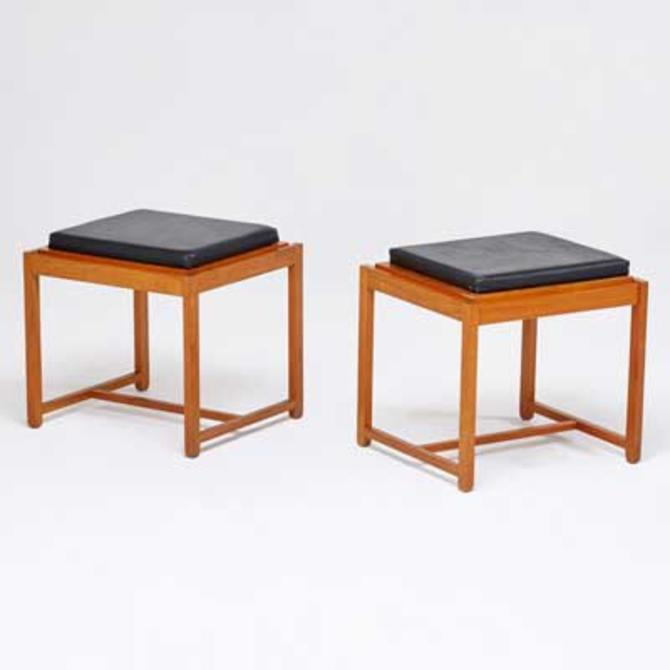 Pair Erik Buck for O. D. Mobler Teak Flip Top End Tables/Stools