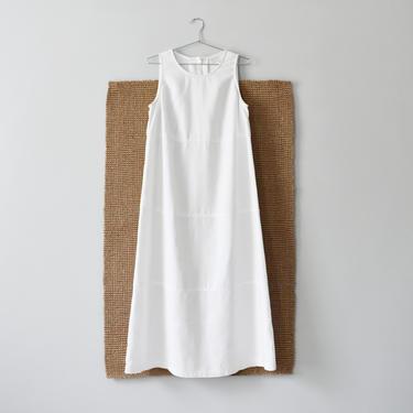 vintage white linen maxi dress, 90s minimal sleeveless dress, size M by ImprovGoods