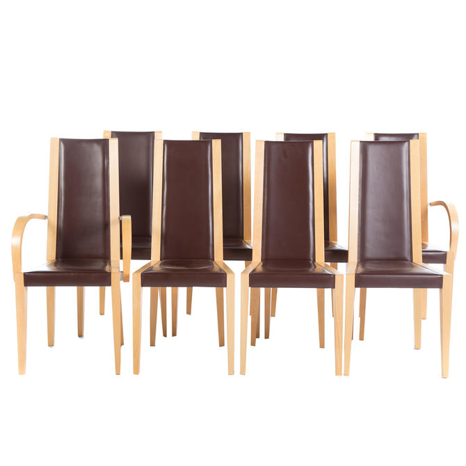 Eight Potocco Leather and Maple Dining Chairs