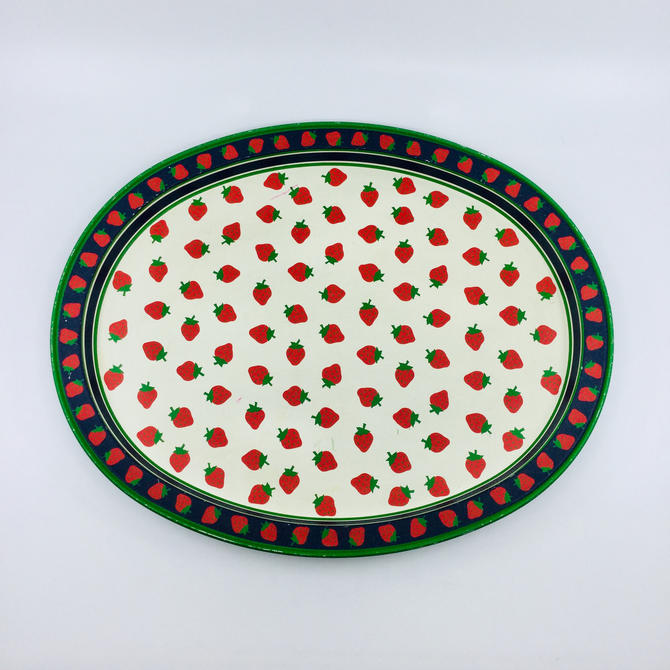 Vintage Strawberry Tin Metal Tray Red Green Blue Oval Kitchen Serving Tray Plate Platter by AuntyEntitysVintage