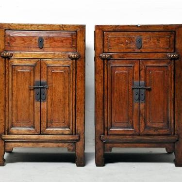 Pair of Chinese Side Cabinets with Two Drawers and a Pair of Doors