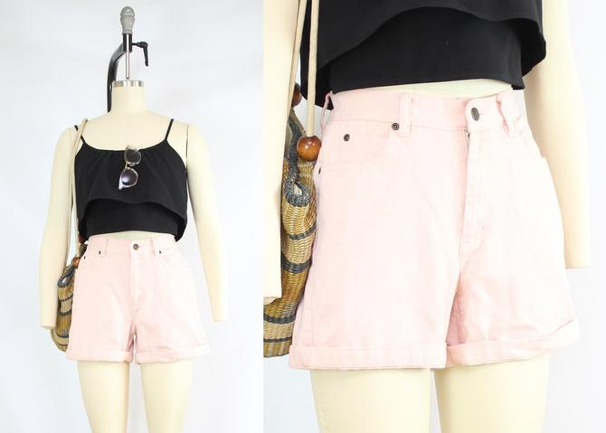 "Vintage 90's Soft Pink High Waisted Denim Shorts / 1990's Light Pink Jean Shorts / Pockets / Liz Claiborne / Women's Size Small/26-27"" Waist by RubyThreadsVintage"