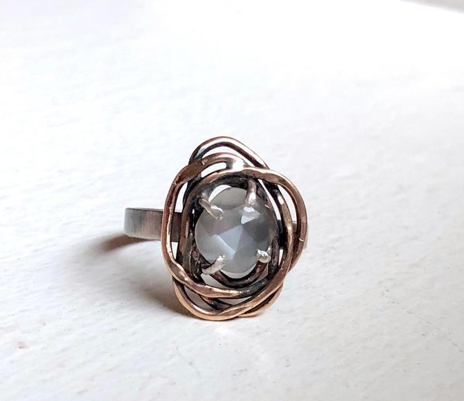 Gray Moonstone Handmade Nest Ring in 14k rose gold filled nest on wide band by RachelPfefferDesigns