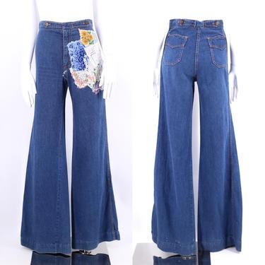 70s high waisted custom denim bell bottoms jeans 26 / vintage 1970s Chemin De Fer ribcage flares pants sz S - 4 by ritualvintage