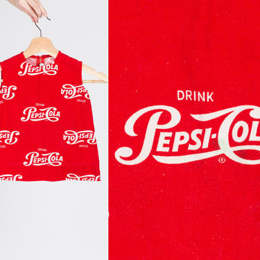 1960s Pepsi Cola Baby Dress - 18-24M   Vintage Red White Logo Graphic Girl's Toddler Clothing by FlyingAppleVintage