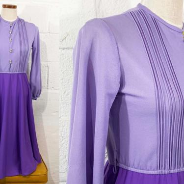 Vintage Two Toned Purple Dress 70s 1970s Midi Long Sleeve Blousy Peasant Sleeves Violet Lavender Party Cocktail Large Medium by CheckEngineVintage