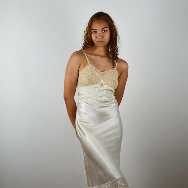 Vintage 30s 40s Bias Cut Slip / 1940s 1930s Satin Lace Slip Dress / Vintage 30s Nightgown Lingerie Negligee / Pin Up Pinup/ Medium Peignoir by ErraticStaticVintage