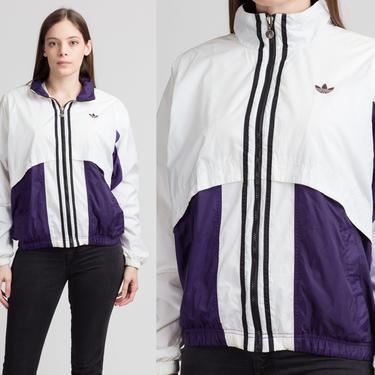 90s Adidas Trefoil Logo Windbreaker - Medium | Vintage Zip Up Color Block Striped Streetwear Jacket by FlyingAppleVintage