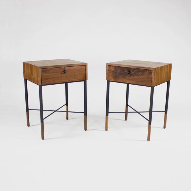 Phillip Modern Walnut and Steel Nightstand (set) by CrumpandKwash