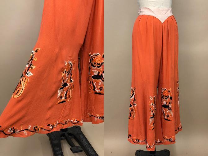 "Vintage 1930s Orange & Pink Flamingo Embroidered Crepe Silk Pants, 30s Loungewear, Vintage Pajama Pants, Size Medium, 29"" Waist by MobyDickVintage"