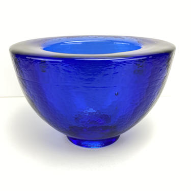 Fire & Light Recycled Art Glass Vase Bowl Cobalt Blue Oblong Footed Signed by HouseofVintageOnline