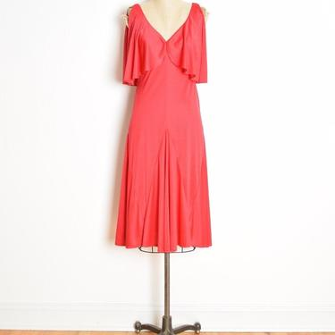 vintage 70s dress red disco draped flutter bust midi party dress S solid clothing by huncamuncavintage