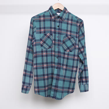 vintage 1990s FLANNEL blue & red soft GRUNGE nirvana seattle long sleeve flannel shirt -- size small by CairoVintage
