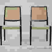 Pair of White J.L. Moller Upholstered Chairs