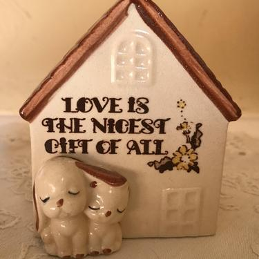 """Vintage Mid Century Japan UCTCI Puppy Dog Toothpick holder """" Love is the nicest gift of all"""" by JoAnntiques"""