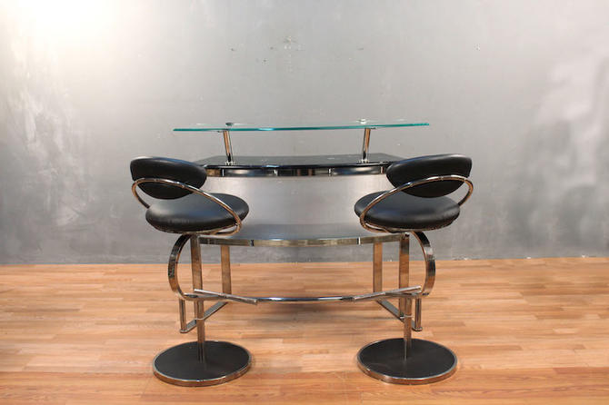 DIA Chrome & Glass Marble-Top Bar with 2 Stools – ONLINE ONLY