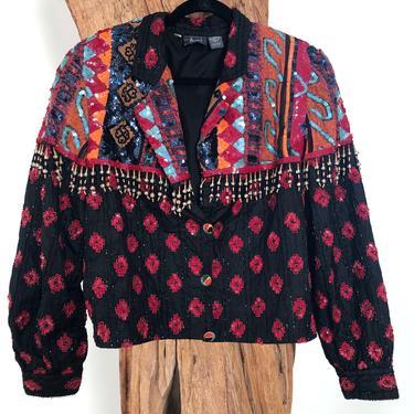 Vintage 80's Embellished Tribal BEADED Fringe Sequin Boho Festival Jacket Bolero Blouse Top Coat S M L by MoonStoneVintageLA