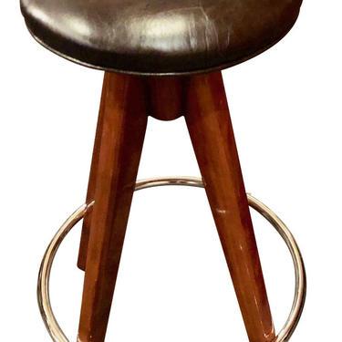 Barstools Art Deco Wood, Chrome and Leather