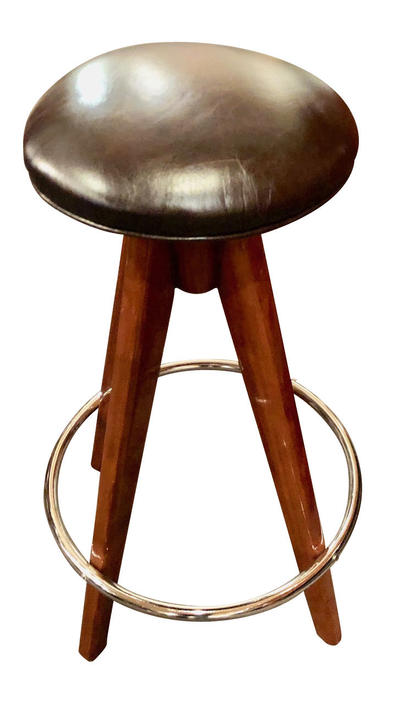 Barstools Art Deco Wood, Chrome and Leather