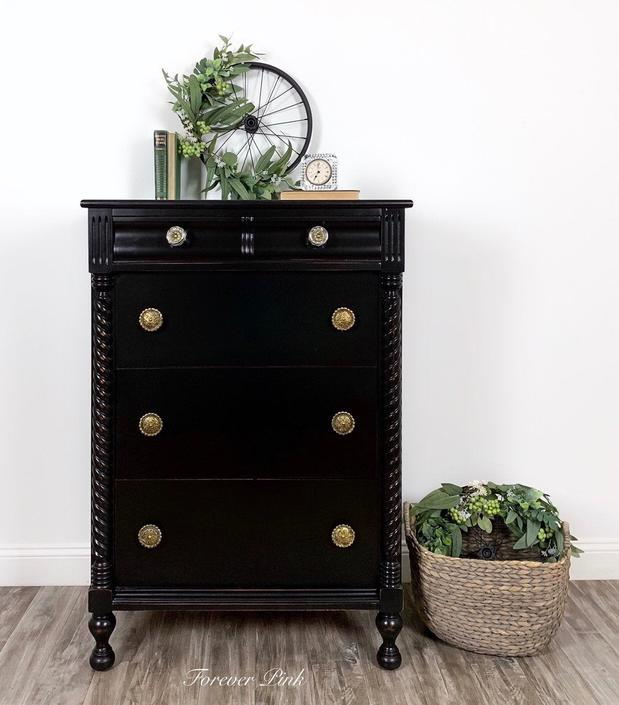 Vintage Black Five Drawer Chest of Drawers - Refinished Dresser by ForeverPinkVintage