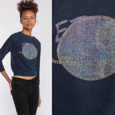 E.T. Extra Terrestrial Shirt 80s Sweatshirt Blue Jumper Graphic Print Sweater Vintage Kawaii Alien Universal Studios Extra Small xxs by ShopExile
