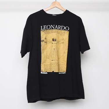 vintage 1990s LEONARDO da VINCI black 90s grunge short sleeve super soft t shirt - size large/xl by CairoVintage