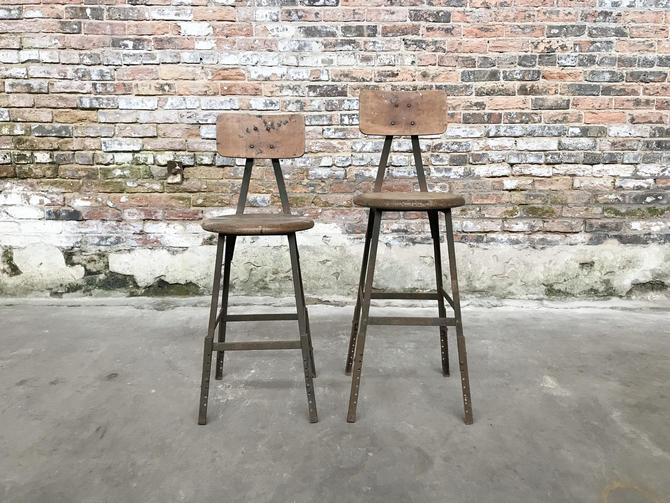 Pair of Vintage Pollard Shop Stools Chicago, Il Industrial Seating by NorthGroveAntiques