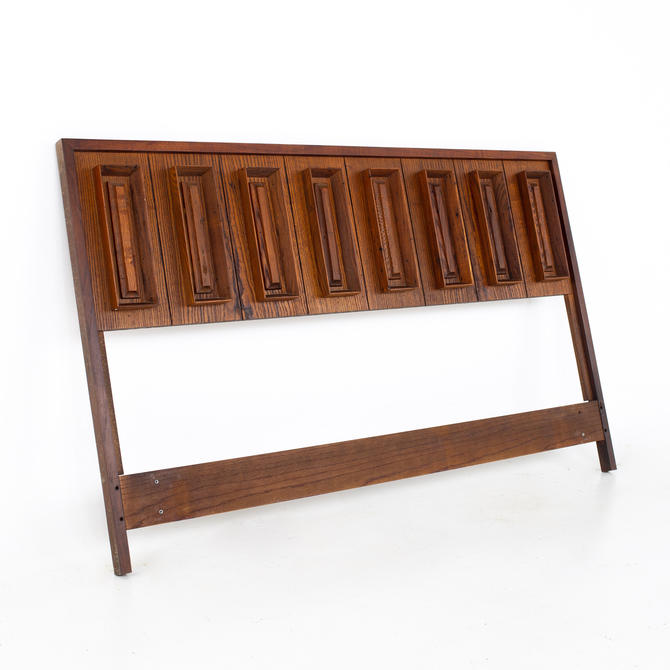 Dillingham Mid Century Pecky Cypress and Walnut Queen Headboard - mcm by ModernHill