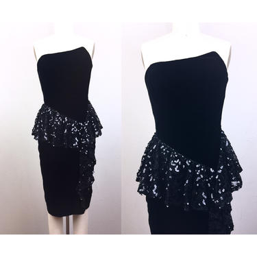 Vintage 80s Black Velvet Strapless Party Dress Sequin Lace Peplum Asymmetrical Body Con 1980s Prom XS by FlashbackATX