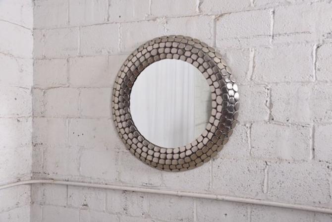 Round Chrome Mosaic Mirror