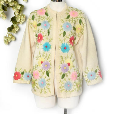vtg Embroidered Cardigan Sweater 1950's, 1960's Floral Colorful Ivory White Wool, Top, Shirt, Blouse, Rockabilly Mid Century Vintage Jacket by Boutique369