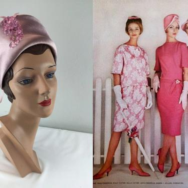 The Girls Were Back With Attitude - Vintage 1960s Pink Satin Turban Cloche Beehive Dome Hat w/Pink Dangle by RoadsLessTravelled2