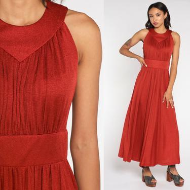 Grecian Dress 70s Maxi Party Dress Rust Sleeveless Dress 1970s Boho High Waist Vintage Long Drape Gown Formal Small by ShopExile
