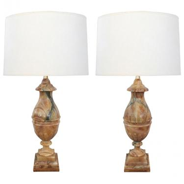 Large Pair of Italian 1950's Baluster-form Carved Onyx Lamps