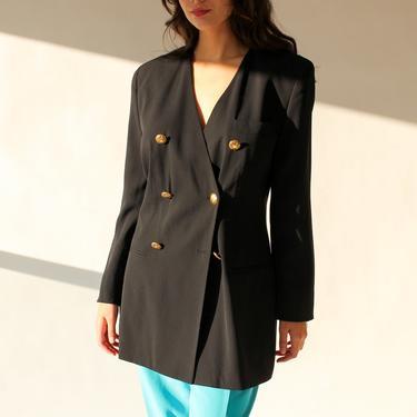Vintage 80s Rena Lange Black Wool Gabardine Double Breasted Gold Button Blazer | Made in West Germany | 1980s Designer Broad Shoulder Jacket by TheVault1969