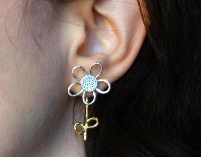 Silver and Gold Daisy Flower Stud with Stem and Petal Ear Jacket- Two Toned Florist Earrings by RachelPfefferDesigns